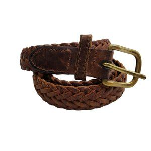Braided Leather Belt Brown Gold Tone Weave 31 Twi